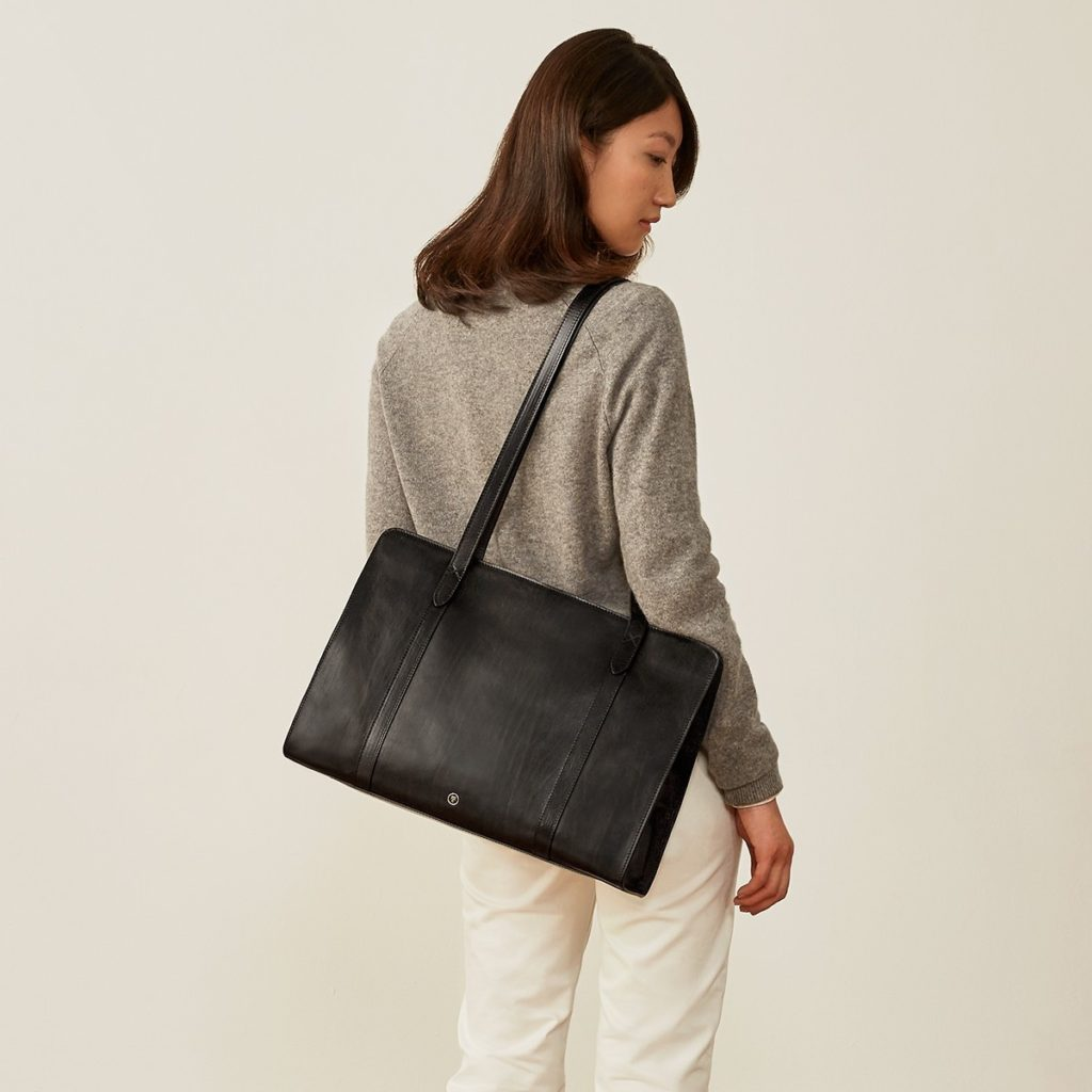 femme sac cuir noir