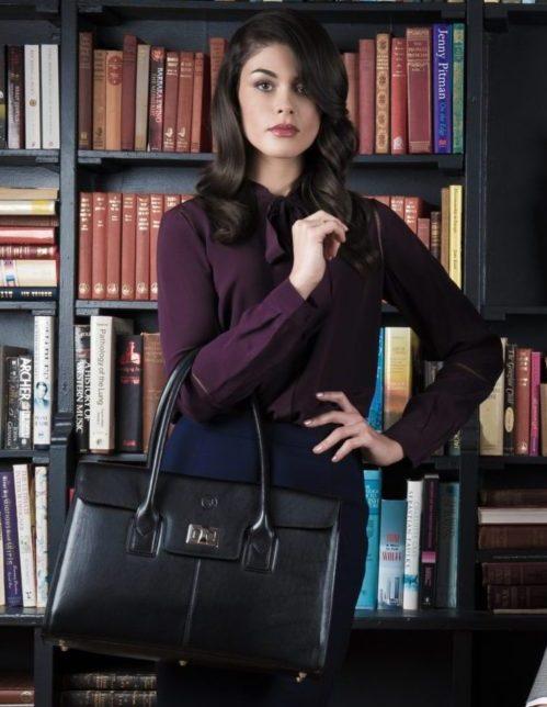 sac main noir cuir